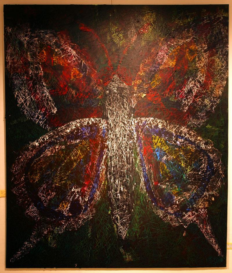 Butterfly Behind 150x120 Akryl på lærred Stort maleri af Jesper Shcytte