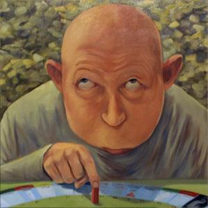 En finger med i spillet, h:70x b:70, Olie på lærred, 6500, Torben Mersholm