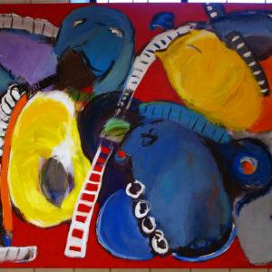 Untitled, h:100 x b:120, Birgit Bay, Stort Maleri, Pang Farver