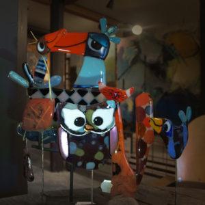 Lene Mandal, Glas Kunst, Katte, Fugle.