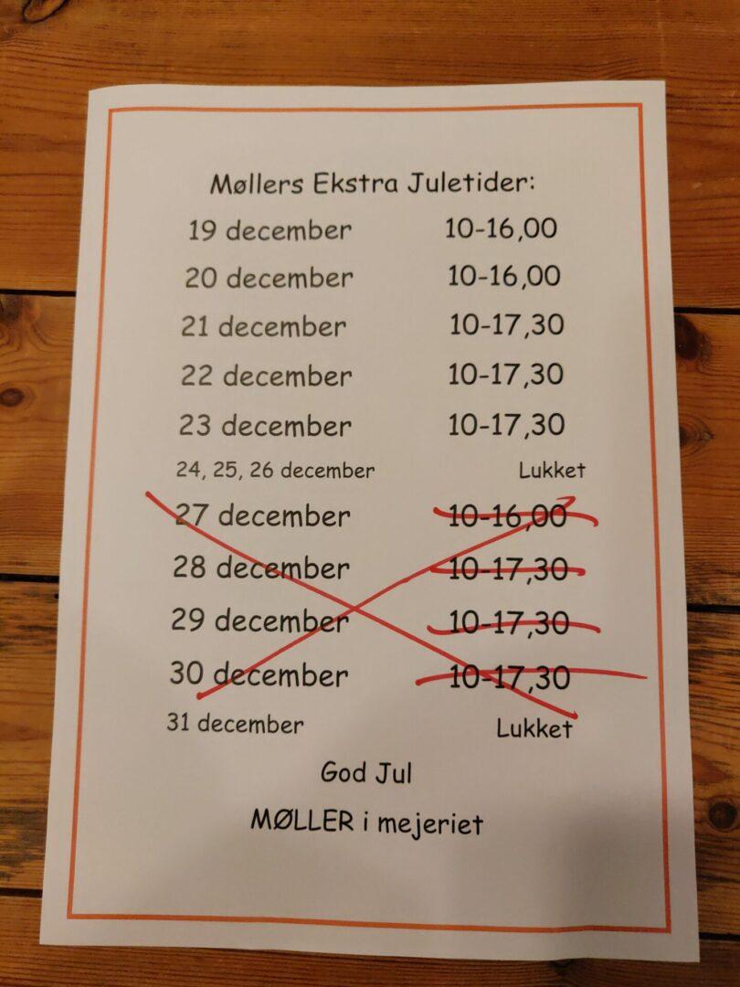 Åbningstider Møller i mejeriet julen 2020